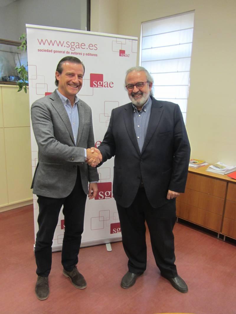 Álvaro Oltra, director de la SGAE de la Comunidad Valenciana, y Pedro Rodríguez, presidente de la FSMCV
