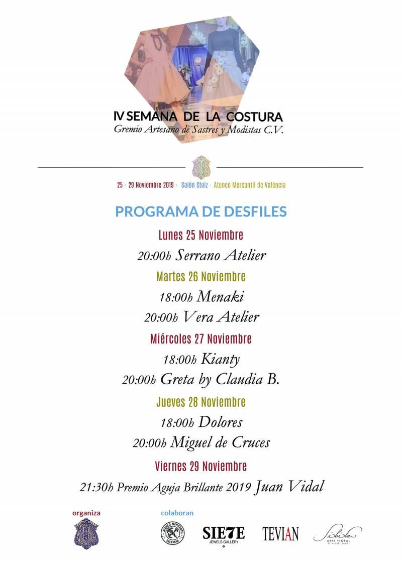 Programa de desfiles IV Semana de la Costura_Gremio Sastres y Modistas CV
