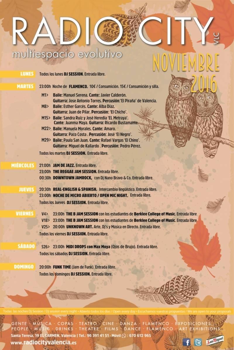 Programación para noviembre de Radio City