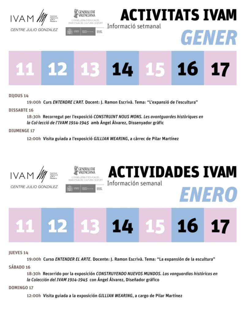 Actividades del 11 al 17 de enero. //Viu València