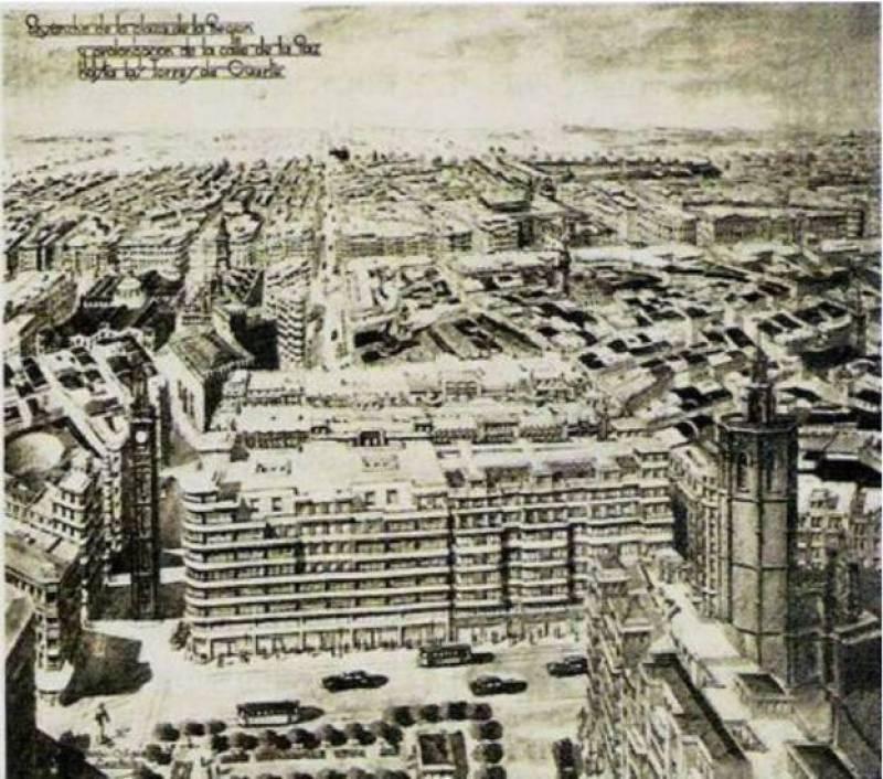Proyecto de reforma de Javier Goerlich para la plaza de la Reina y ampliación de la calle de la Paz. /