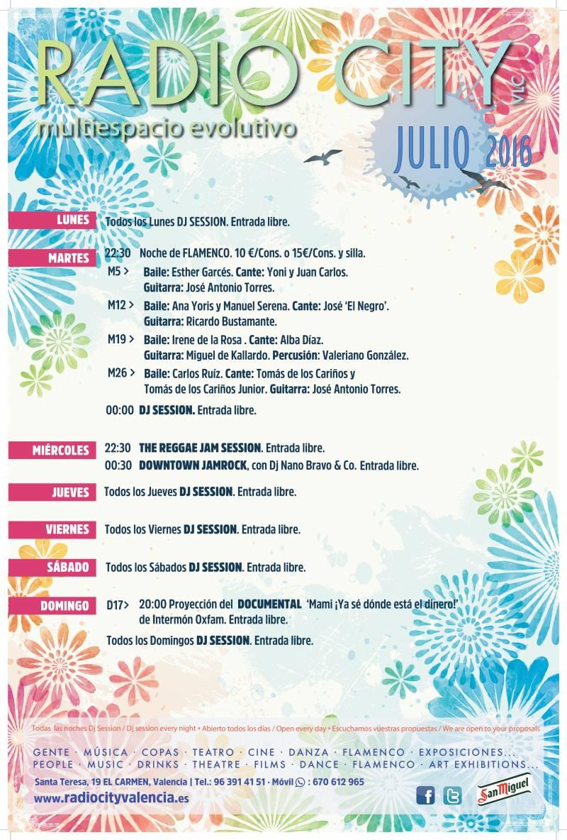 Programación de Radio City para julio