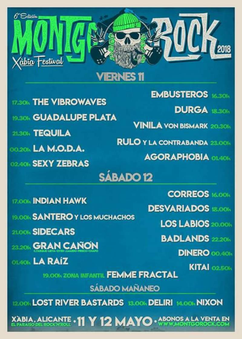 Cartel de horarios de los conciertos