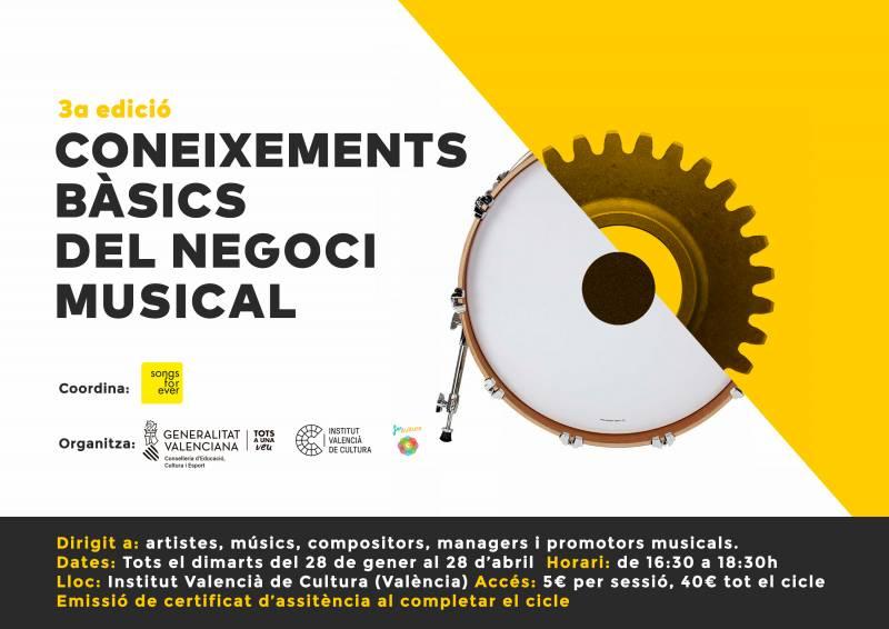 El Institut Valencià de Cultura organiza la tercera edición de 'Conocimientos básicos del negocio musical'