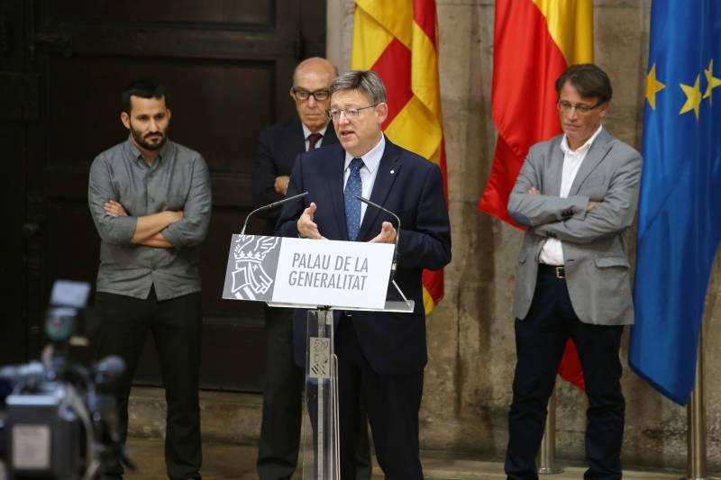 Ximo Puig presentando el acuerdo