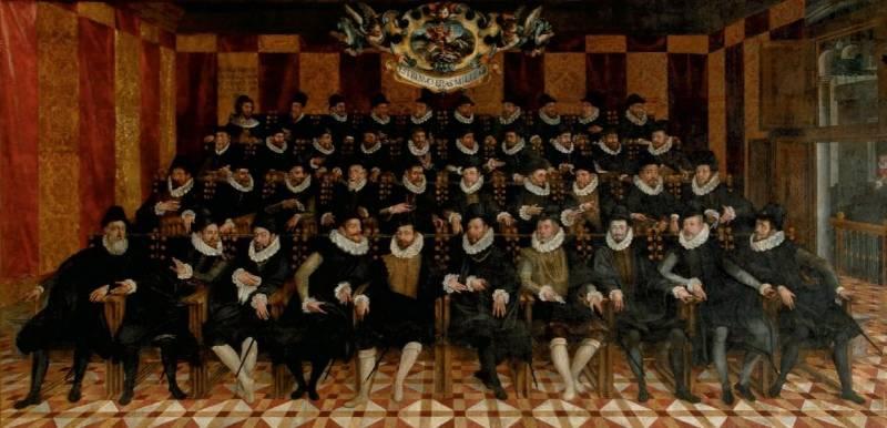 Retrat de grup de la noblesa valenciana que formava part del braç militar, realitzat al fresc pel pintor savoià Francesco Posso (c. 1593). Saló de Corts del Palau de la Generalitat Valenciana
