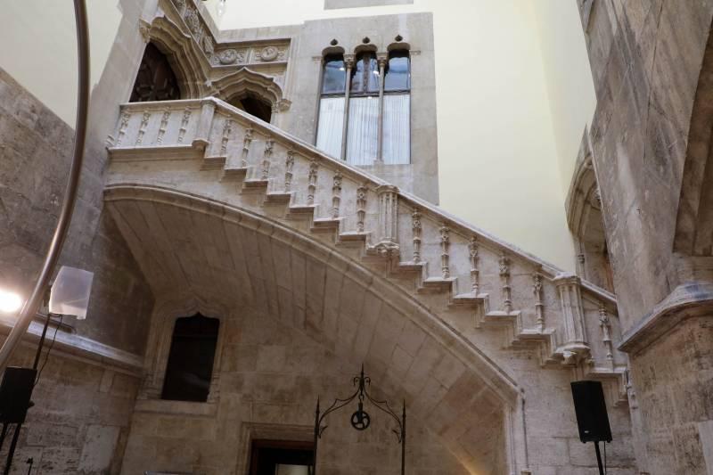 La escalera gótica del Palau de la Generalitat. Imagen: GVA