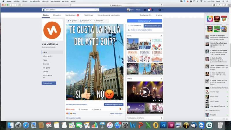 La encuesta en Facebook de Viuvalencia.com que ha arrasado. Captura de imagen del lunes 20 de marzo a las 8 horas de la mañana.