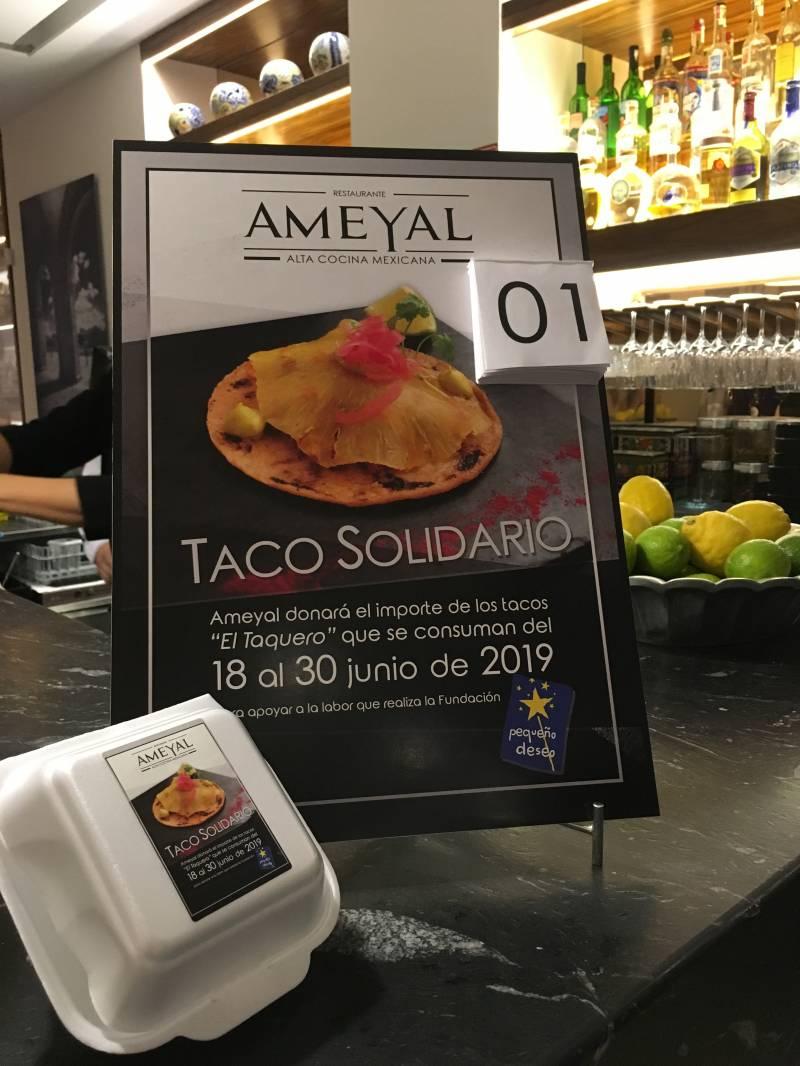 Taco solidario del restaurante Ameyal