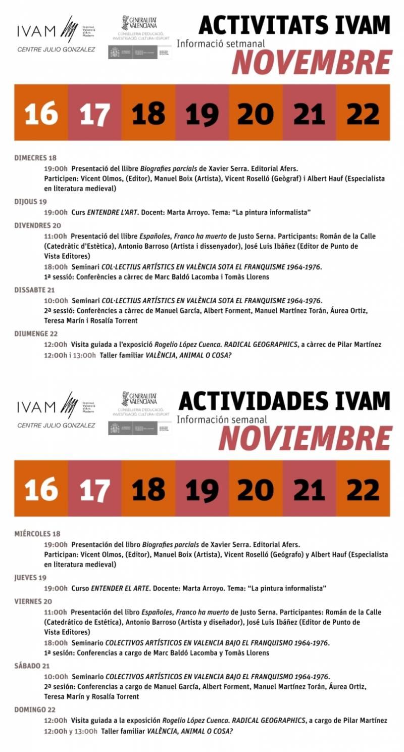 Agenda de Noviembre del Ivam. //EPDA