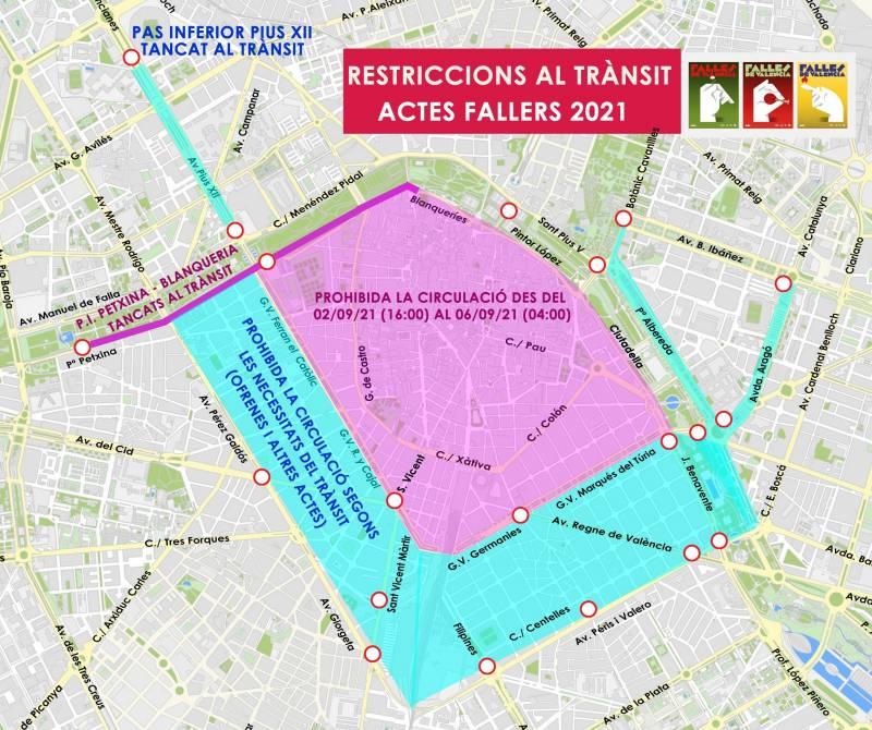 Talls de circulació en València degut als actes fallers. EPDA