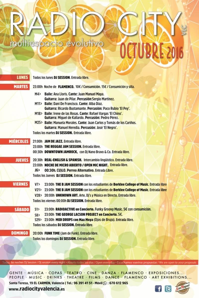 Programación de Radio City octubre