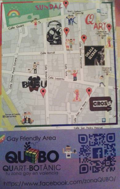 Mapa de la 1ª gay friendly area de Valencia