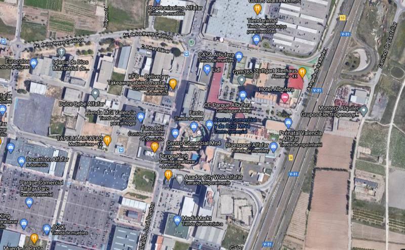 Vista satélite de la zona comercial. EPDA.